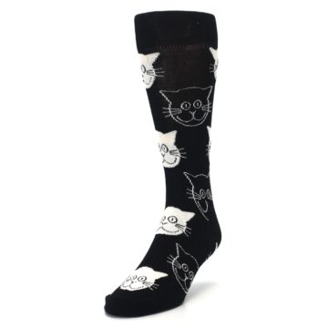 Image of Black and White Cats Men's Dress Socks (side-2-front-07)