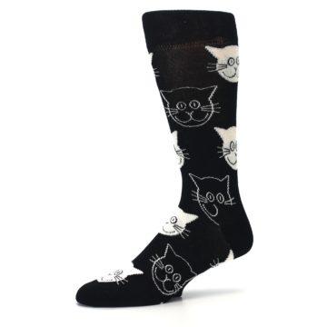 Image of Black and White Cats Men's Dress Socks (side-2-10)