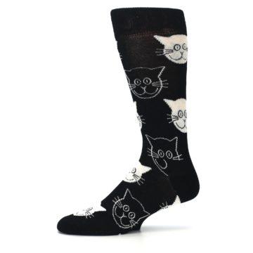Image of Black and White Cats Men's Dress Socks (side-2-11)