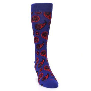 Image of Violet Red Paisley Men's Dress Socks (side-1-front-03)
