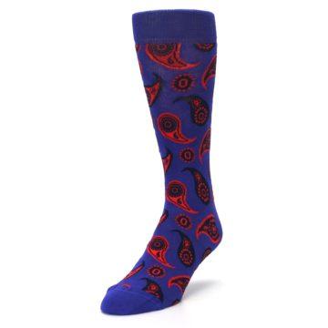 Image of Violet Red Paisley Men's Dress Socks (side-2-front-07)