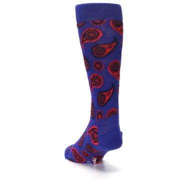 Image of Violet Red Paisley Men's Dress Socks (side-2-back-16)