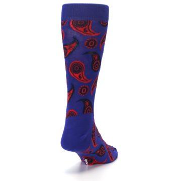 Image of Violet Red Paisley Men's Dress Socks (side-1-back-20)