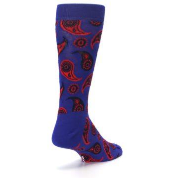 Image of Violet Red Paisley Men's Dress Socks (side-1-back-21)