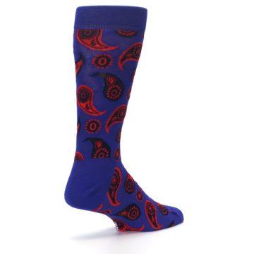 Image of Violet Red Paisley Men's Dress Socks (side-1-back-22)