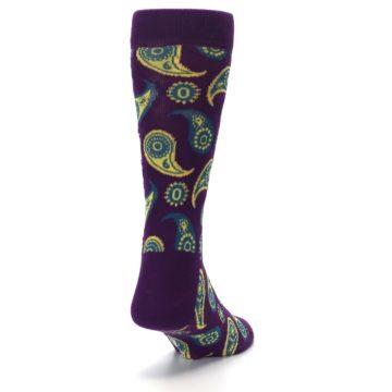 Image of Plum Yellow Blue Paisley Men's Dress Socks (side-1-back-20)