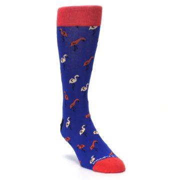 Image of Blue Red Flamingos Men's Dress Socks (side-1-front-02)