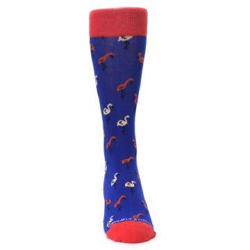 Image of Blue Red Flamingos Men's Dress Socks (front-04)