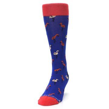 Image of Blue Red Flamingos Men's Dress Socks (side-2-front-06)