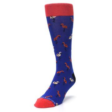 Image of Blue Red Flamingos Men's Dress Socks (side-2-front-07)