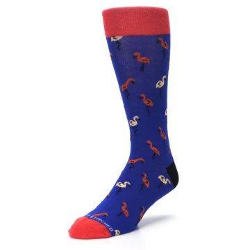 Image of Blue Red Flamingos Men's Dress Socks (side-2-front-08)