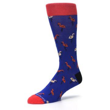 Image of Blue Red Flamingos Men's Dress Socks (side-2-09)
