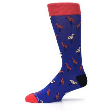 Image of Blue Red Flamingos Men's Dress Socks (side-2-11)