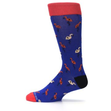 Image of Blue Red Flamingos Men's Dress Socks (side-2-12)