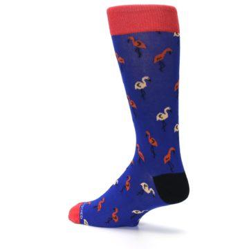Image of Blue Red Flamingos Men's Dress Socks (side-2-back-14)