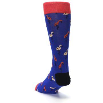 Image of Blue Red Flamingos Men's Dress Socks (side-2-back-16)