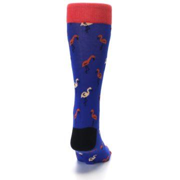 Image of Blue Red Flamingos Men's Dress Socks (back-19)