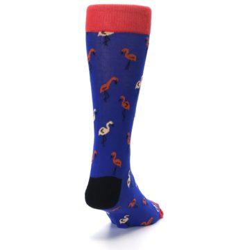 Image of Blue Red Flamingos Men's Dress Socks (side-1-back-20)