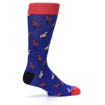 Image of Blue Red Flamingos Men's Dress Socks (side-1-24)