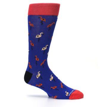 Image of Blue Red Flamingos Men's Dress Socks (side-1-25)