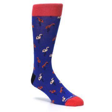 Image of Blue Red Flamingos Men's Dress Socks (side-1-27)