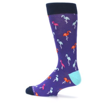 Image of Purple Blue Flamingos Men's Dress Socks (side-2-13)