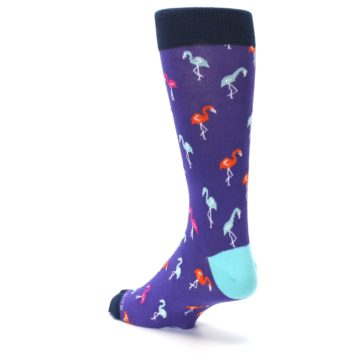 Image of Purple Blue Flamingos Men's Dress Socks (side-2-back-15)
