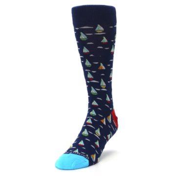 Image of Navy Red Sailboats Men's Dress Socks (side-2-front-07)