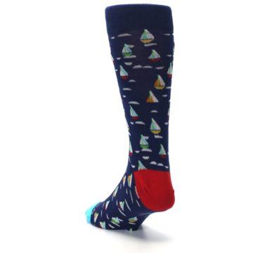 Image of Navy Red Sailboats Men's Dress Socks (side-2-back-16)