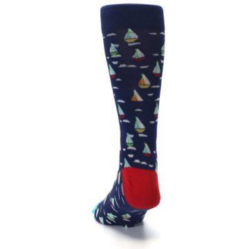 Image of Navy Red Sailboats Men's Dress Socks (back-17)