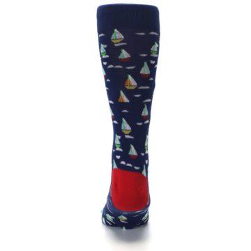 Image of Navy Red Sailboats Men's Dress Socks (back-18)