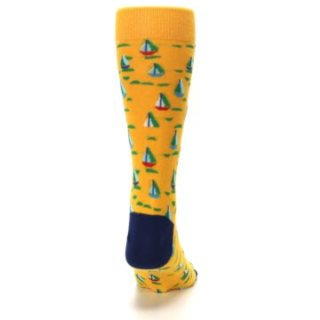 Image of Yellow Blue Sailboats Men's Dress Socks (back-19)