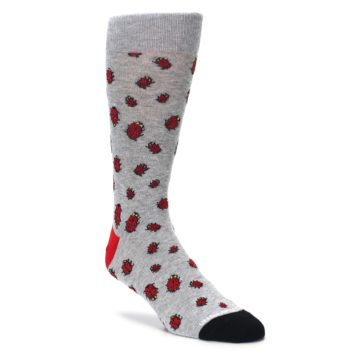 grey red not a lady bug mens novelty dress socks by unsimply stitched