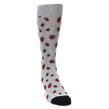 Image of Grey Red Lady Bugs Men's Dress Socks (side-1-front-03)