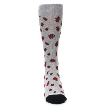 Image of Grey Red Lady Bugs Men's Dress Socks (front-04)