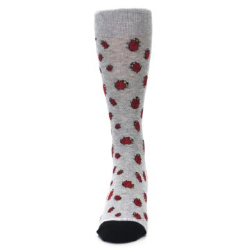 Image of Grey Red Lady Bugs Men's Dress Socks (front-05)