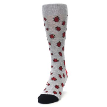 Image of Grey Red Lady Bugs Men's Dress Socks (side-2-front-06)