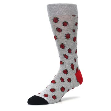 Image of Grey Red Lady Bugs Men's Dress Socks (side-2-09)