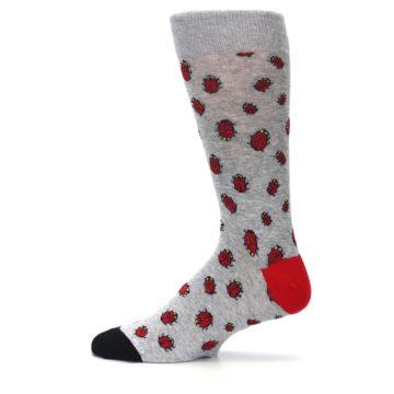 Image of Grey Red Lady Bugs Men's Dress Socks (side-2-12)
