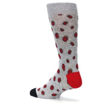 Image of Grey Red Lady Bugs Men's Dress Socks (side-2-back-14)