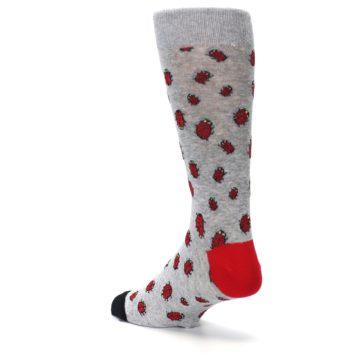 Image of Grey Red Lady Bugs Men's Dress Socks (side-2-back-15)
