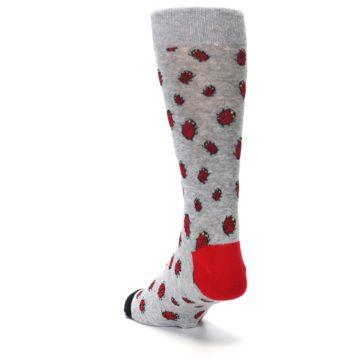 Image of Grey Red Lady Bugs Men's Dress Socks (side-2-back-16)