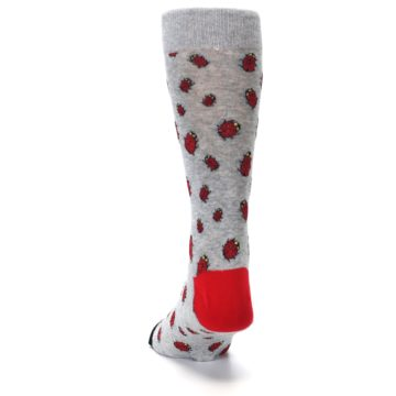 Image of Grey Red Lady Bugs Men's Dress Socks (back-17)