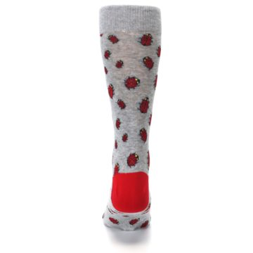 Image of Grey Red Lady Bugs Men's Dress Socks (back-18)