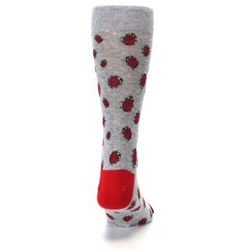Image of Grey Red Lady Bugs Men's Dress Socks (back-19)