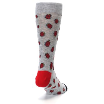 Image of Grey Red Lady Bugs Men's Dress Socks (side-1-back-20)
