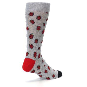 Image of Grey Red Lady Bugs Men's Dress Socks (side-1-back-22)