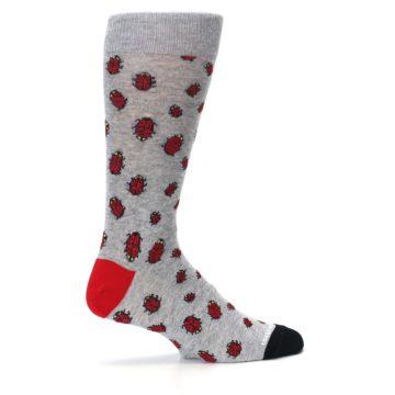 Image of Grey Red Lady Bugs Men's Dress Socks (side-1-24)