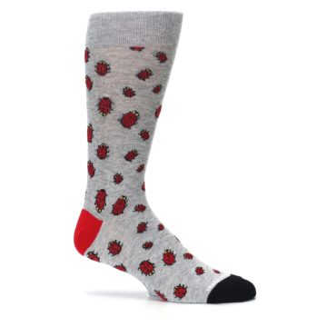 Image of Grey Red Lady Bugs Men's Dress Socks (side-1-25)