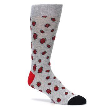 Image of Grey Red Lady Bugs Men's Dress Socks (side-1-26)